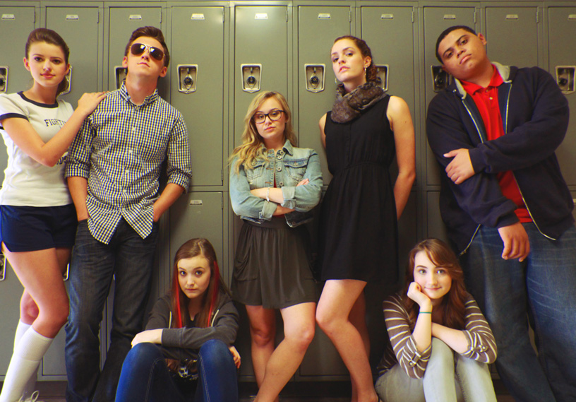 The Weird Girls pilot cast in their best Breakfast Club pose