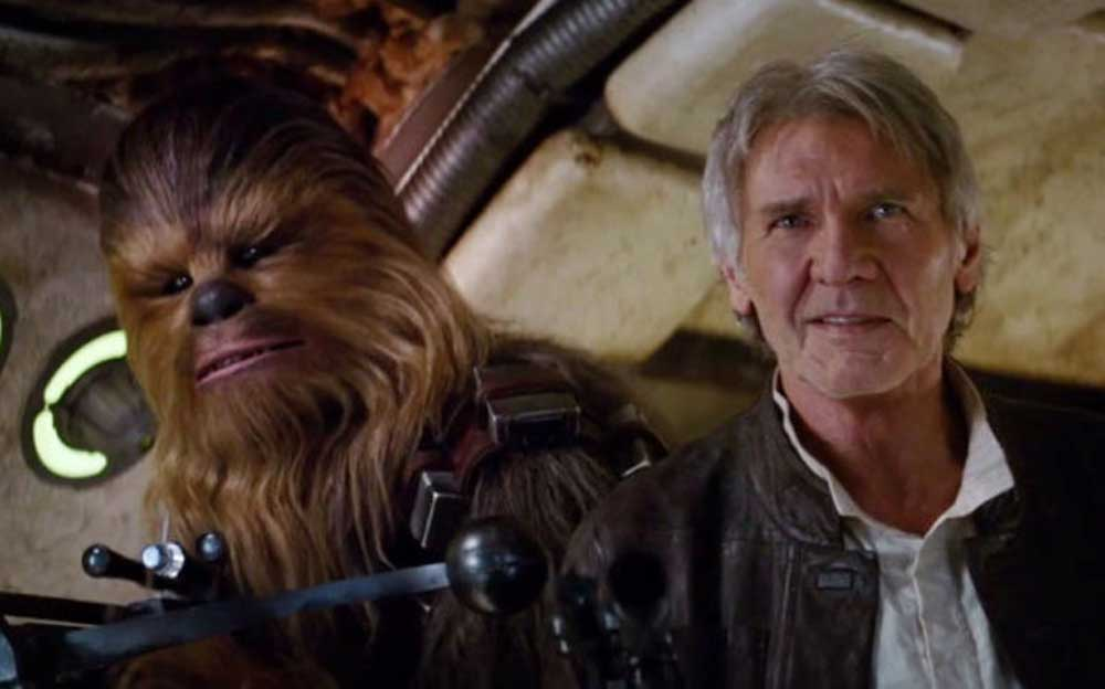 Han Solo and Chewbacca in the Force Awakens